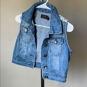Cropped Jean Jacket  Vest with Lace